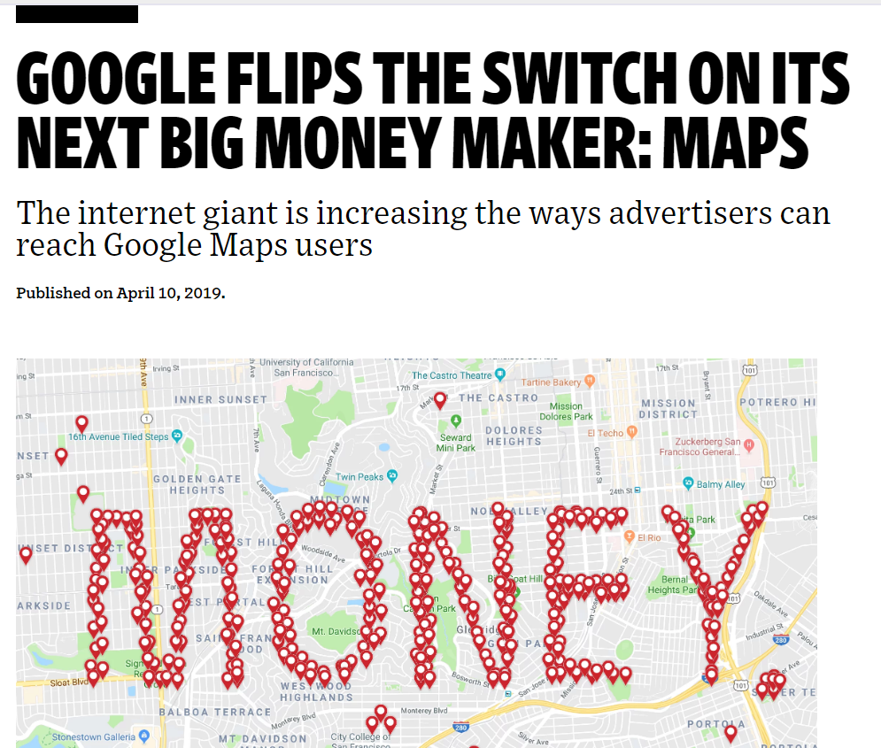 Ad Age article picture: shows a Google maps screen.